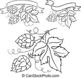 Ripe hops and leaves.