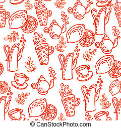 Red Seamless Pattern with Tea Cups Vector Background...