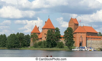 The beautiful old castle in Trakai in the middle of the lake
