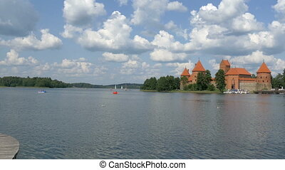 A red medieval castle in Trakai Lithuania