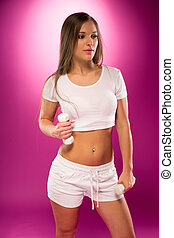 Young Sexy Lady in White Pose with Small Barbells