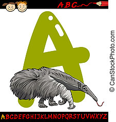 letter a for anteater cartoon illustration - Cartoon...