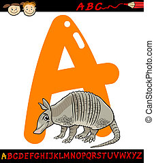 letter a for armadillo cartoon illustration - Cartoon...