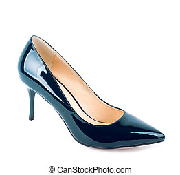 Beautiful blue classic women shoes isolated on white...