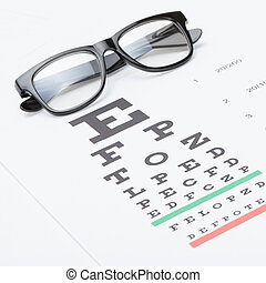 Studio shot of eyesight test chart with glasses over it - 1...