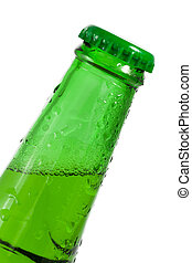 Green beer bottle with water drops on it's surface - studio shot on white background