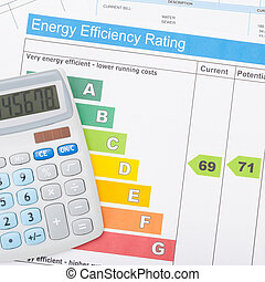 Calculator with utility bill and energy efficiency chart - 1...