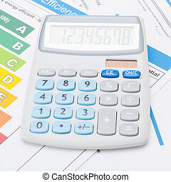 Calculator with energy efficiency chart - studio shot - 1 to...