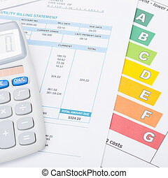Calculator with utility bill and energy rating chart - 1 to...
