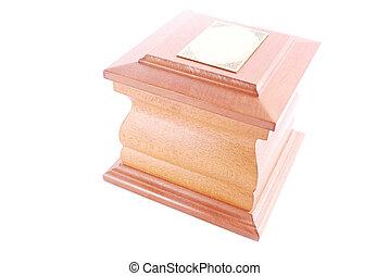 Um, cremação, urna, isolado, branca