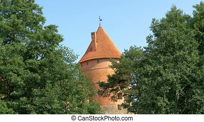 Trees covering the red brick castle in Trakai