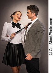Happy Lovely Couple in Trendy Attire Isolated Gray Lady...