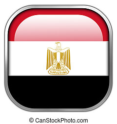 Egypt Flag square glossy button