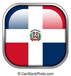 Dominican Republic Flag square glossy button