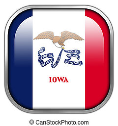 Iowa State Flag square glossy button