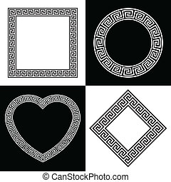 Four Greek Key Border Frame Shapes - Set of Four Vector...