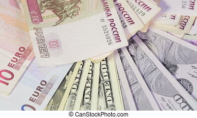 Various banknotes - Hryvnia, rubles, dollars and euros...
