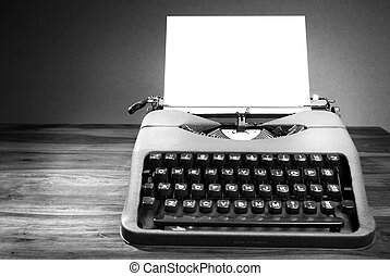 Old typewriter in black and white - Old typewriter on table...
