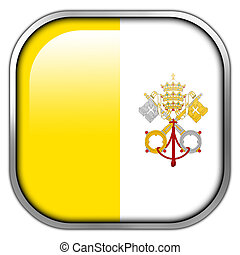 Vatican City Flag square glossy button