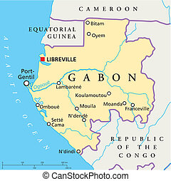 Gabon Political Map - Political map of Gabon with capital...