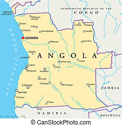 Angola Political Map - Political map of Angola with capital...