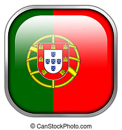 Portugal Flag square glossy button
