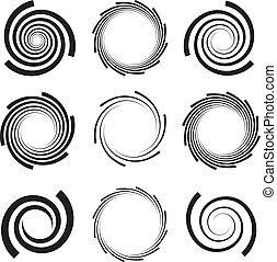Spirals with clipped edges - Optical Art - Collection of...