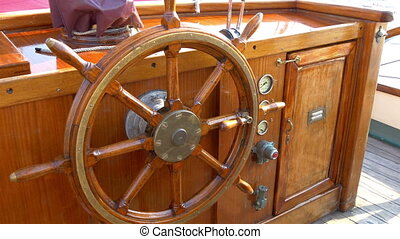 The stirring wheel of the old viking or galleon ship The...