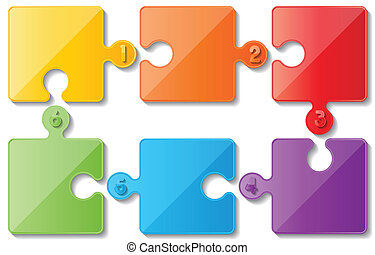 puzzle infoghaphics - six colorful puzzle infographic...