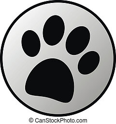 Paw button on white background. Vector illustration.