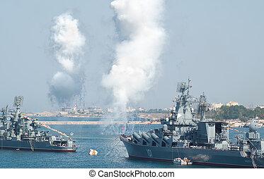 Dia, militar, marinho, mar, frota, rússia