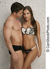Young Couple Wearing Sexy Underwear Only
