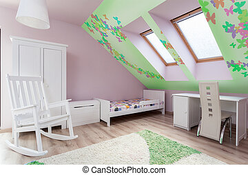 Child's room in the attic - View of child's room in the...