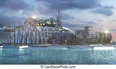 Sci-fi city marina and aircrafs - Science fiction cityscape...