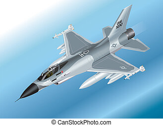 Isometric F-16 Fighter Jet - Detailed Isometric Vector...