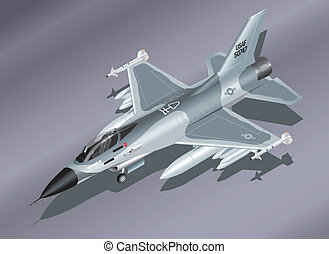 Isometric F-16 Fighter Jet