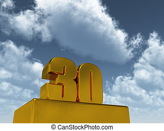 thirty - the number thirty - 30 - in front of blue sky - 3d...