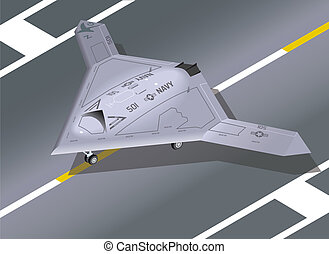 Isometric X-47B on the ground - Detailed Isometric View of...