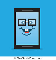 Phone Character Nerd Glasses - Phone character with nerdy...