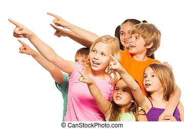 Six funny kids point fingers aside - Photo of a six funny...