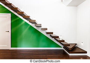 Stairs in luxurious house - Horizontal view of stairs in...