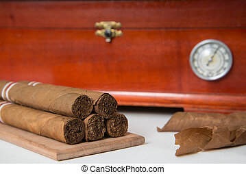 cigar and humidifier - cuban cigars and wooden humidifier