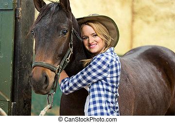 Vaquera, caballo, Abrazar, ella