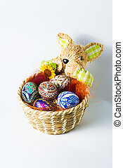 Easter bunny basket with eggs - Easter bunny basket with...