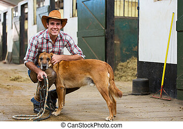 cowboy and his dog - handsome cowboy and his dog inside...