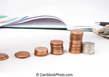 pound  coins and tax book