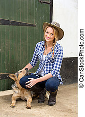 country girl and her dog - happy country girl and her dog...