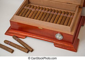 cigar and humidifier - cuban cigars and wooden humidifier
