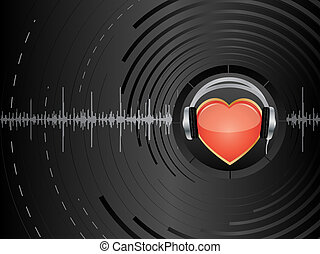 Abstract background with heart and earphones