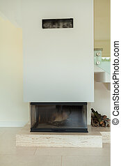 Fireplace in modern home - Vertical view of fireplace in...